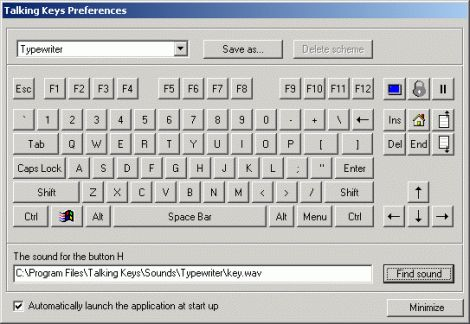 Talking Keyboard Preferences window